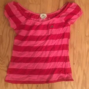 Lacoste Pink Striped Short Sleeve Blouse Top